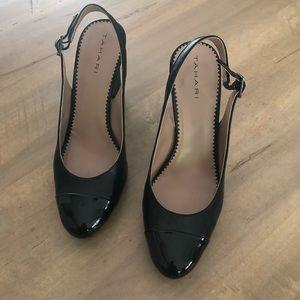 Women's Black Leather & Patent High Heels